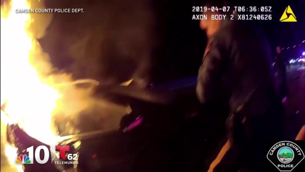 Video: Camden Officers Brave Flames to Save Men Trapped in Burning Wreckage