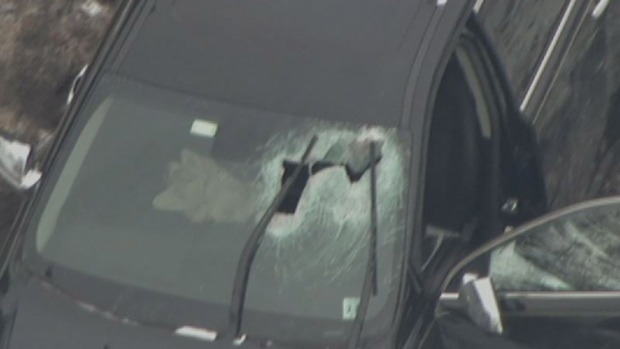 50-pound dumbbell crashes through windshield on NJ Turnpike, injuring elderly driver