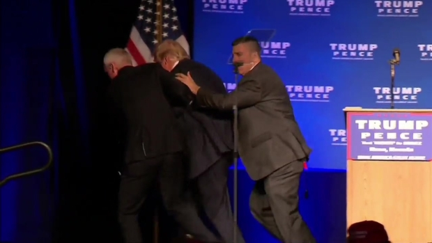 Donald Trump rushed off stage during speech in Nevada