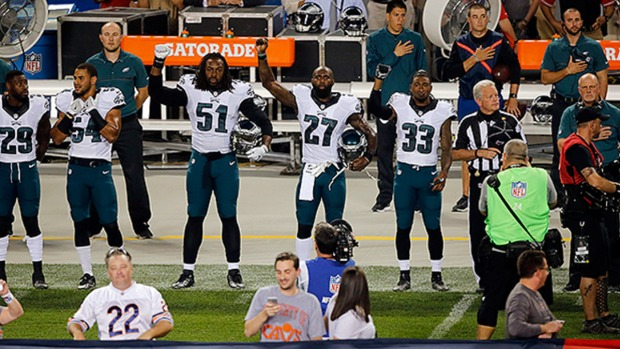 [PHI] Malcolm Jenkins and Other Eagles Players Raise Fists During National Anthem