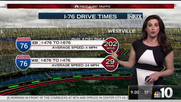 NBC10 First Alert Traffic: I-76 Flooding, I-95 Crash