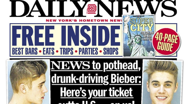 Bieber Bust on Front Page