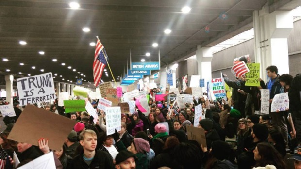 Thousands Gather at PHL to Protest Travel Ban