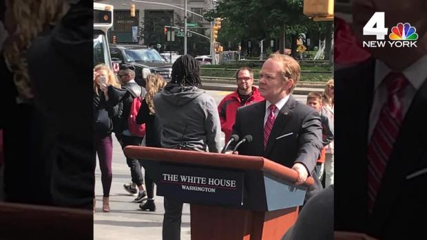 Melissa McCarthy as Sean Spicer Rides Streets of New York on Mobile Podium