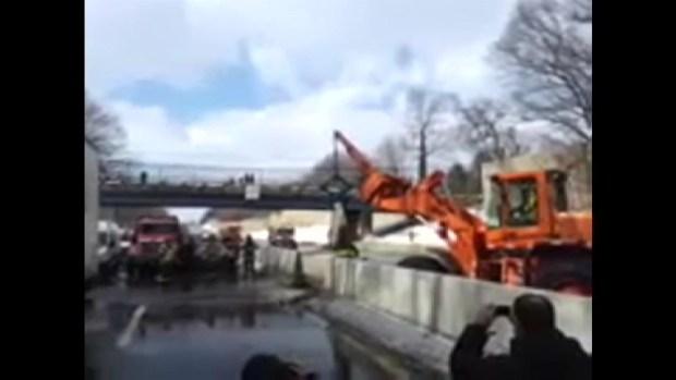 [PHI] RAW VIDEO: Crews Remove Barrier in Midst of Massive Crash