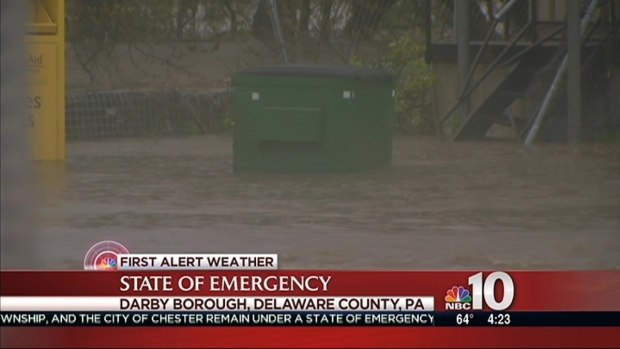 [PHI] Flooding Causes Floating Dumpster