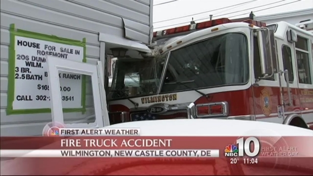 [PHI] Fire Truck Slips, Crashes Into Delaware Home