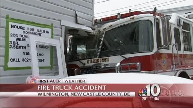 [PHI] Fire Truck Slips, Crashes Into Delaware Home