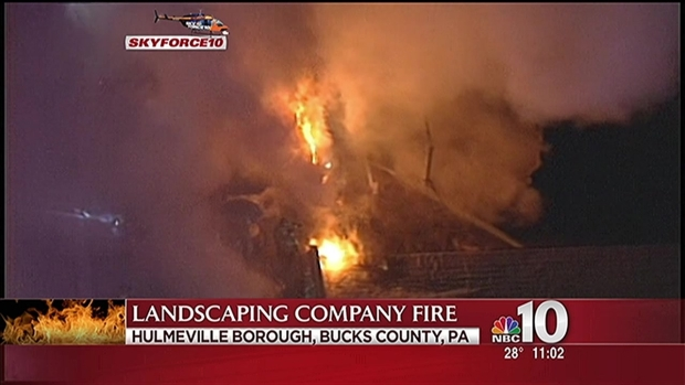 Massive fire at bucks county landscaping company nbc 10 for Local landscaping companies