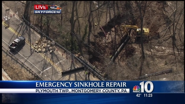 [PHI] Sinkhole Repairs Close Road for Afternoon Commute