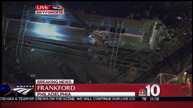 [NATL-PHI] Aerial View of Amtrak Train Derailment in Philly