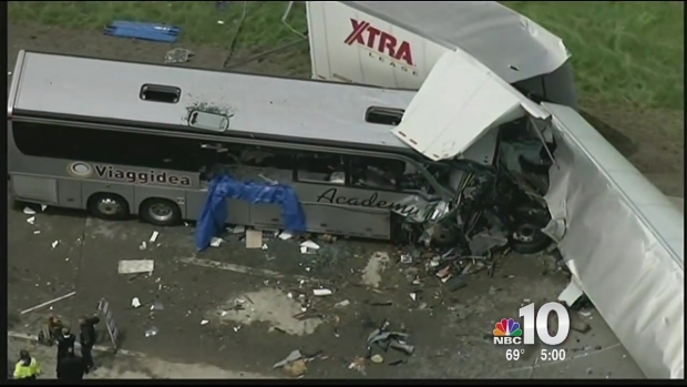 [PHI] 3 People Killed in Tractor Trailer, Tour Bus Crash