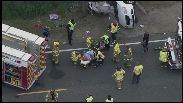 [PHI] RAW: Crews Rush to Free Man From Crashed Van