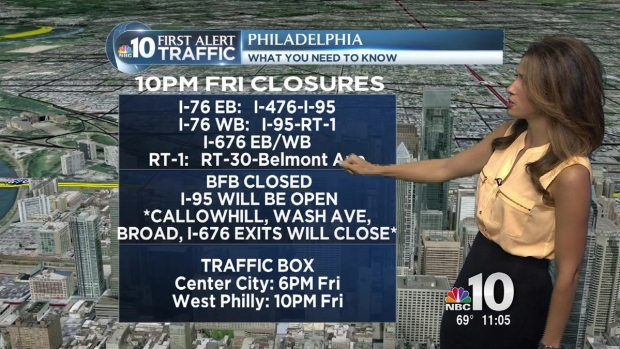 Major Roads to Close at 10 p.m. Friday