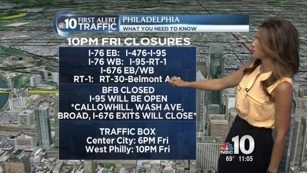 Major Roads to Close at 10 p.m. Friday