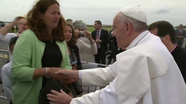 Pope Francis Blesses Boy with Cerebral Palsy