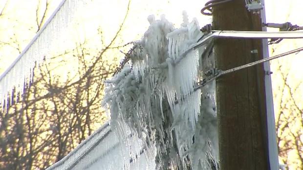 Water Main Break Freezes Water on Power Lines