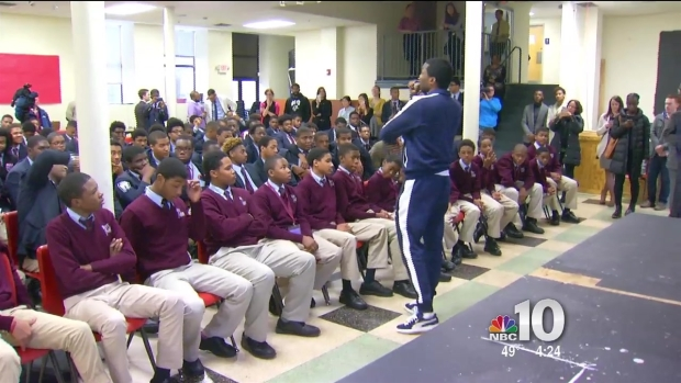 [PHI] Rapper Meek Mill Visits North Philadelphia School