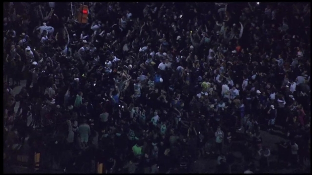 Fans Celebrate in the Streets After Villanova Wins Championship