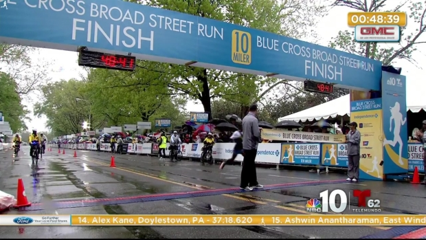 [PHI] Blue Cross Broad Street Run First and Second Place Runners Cross the Finish Line