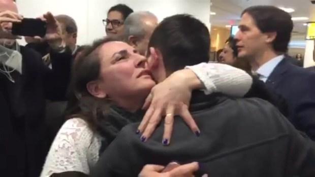 Raw Video: Syrians Get Hugs Upon US Return