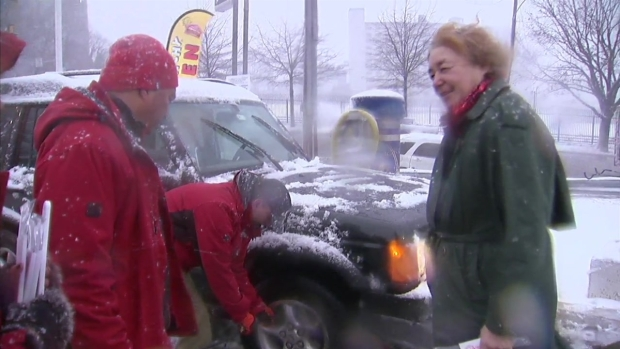 NBC10 to the Rescue: Reporter Fills Tire in the Snow