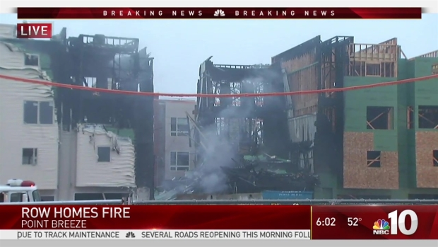 Fire Tears Through Row Homes Under Construction
