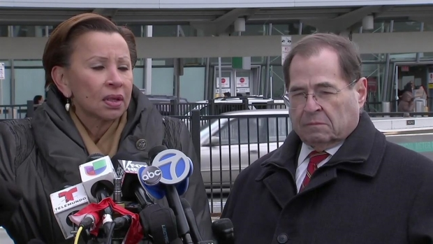 Rep. Nydia Velazquez Condemns Refugees' Detainment at JFK