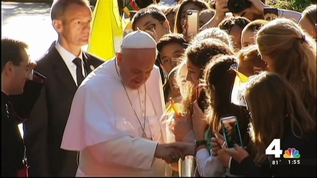 Students Greet Pope Outside Nunciature