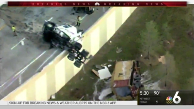[MI] Truck Left Hanging Off I-595 Ramp After Crash