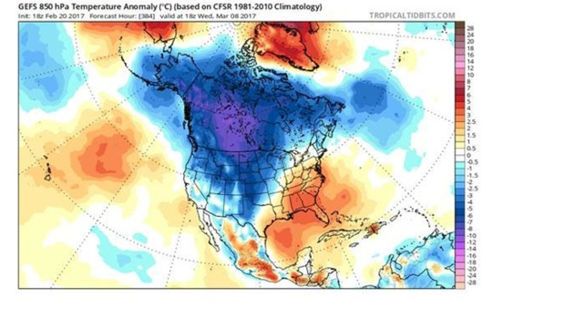 You See Plenty Of Cold Air In Canada And The Western Half Of The U S Blue And Purple But It Doesn T Seem To Move Our Way