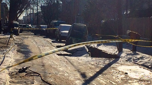 Sink Hole Swallows Up Car During Water Main Break in Fishtown
