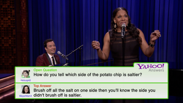[NATL] Fallon Sings Yahoo! Answers With Audra McDonald