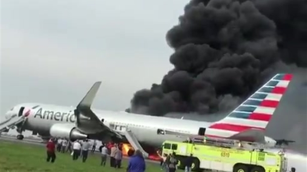 RAW: Plane on Fire at O'Hare Airport in Chicago