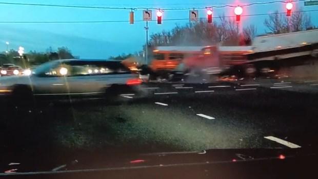 [DC] Dashcam Video Shows Truck Slamming Into PGCPS School Bus