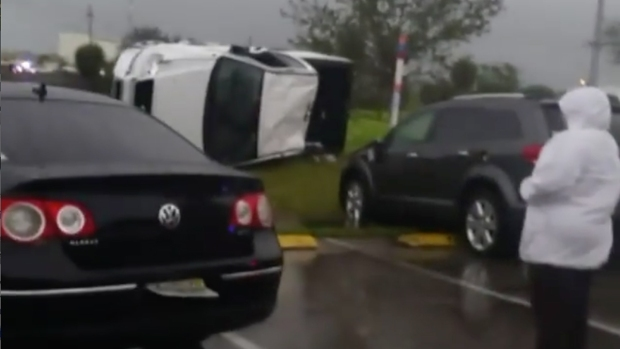 Cars Flipped After Rough Weather