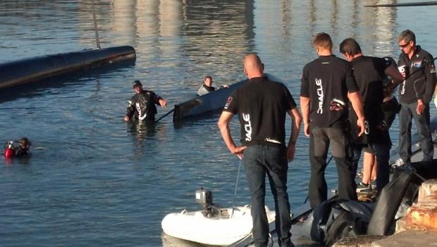 Oracle Catamaran Badly Damaged After Capsizing