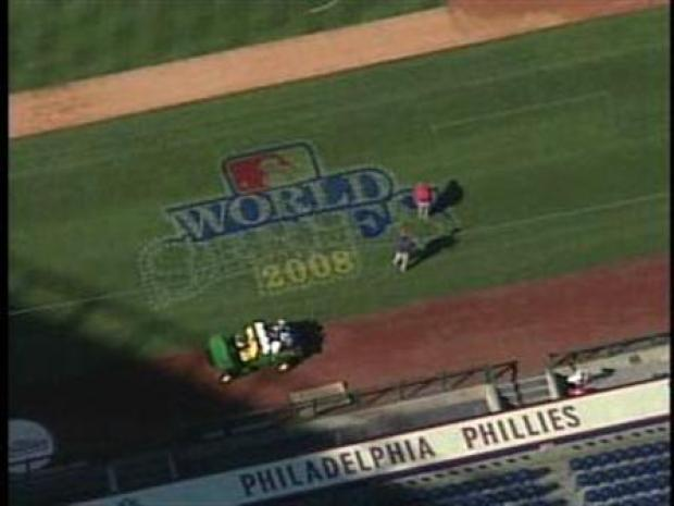 [PHI] World Series Logo Painted on Field at Citizens Bank Park