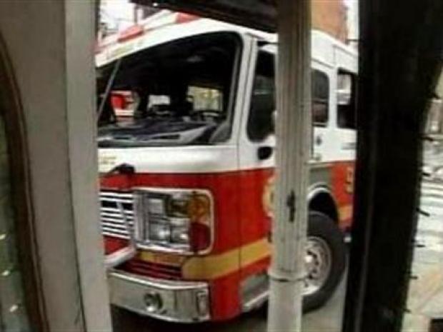 [PHI] Fire Trucks Crash Near Center City Flower Shop