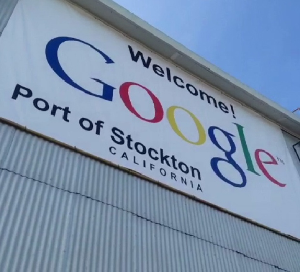 Google Barge Docks at Port of Stockton