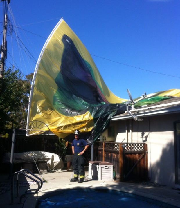Geico Banner Falls on Fremont Home