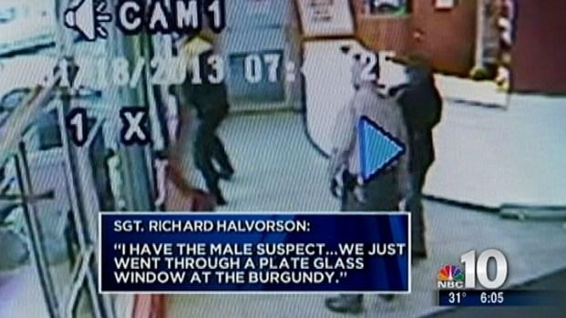 [PHI] Caught on Tape: Man, Cop Crash Through Glass Window in Atlantic City