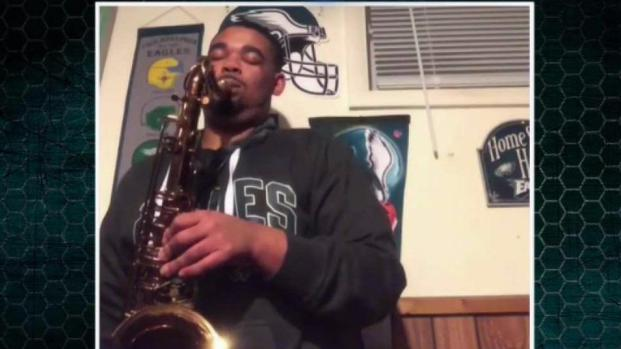 Saxophonist Plays Eagles' Fight Song