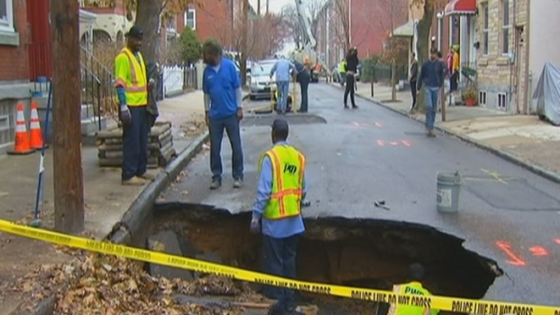 [PHI] Sinkhole Nearly Swallows Truck
