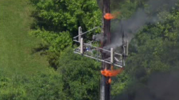 Cell Phone Tower Catches Fire, Threatens Collapse