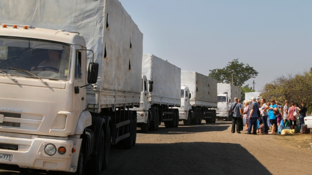 Russian Trucks in Aid Convoy Leave Eastern Ukraine
