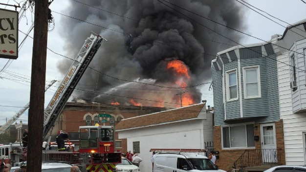 Firefighters Battle Blaze in Frankford