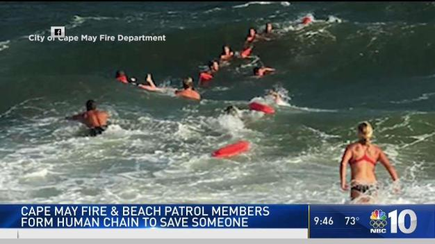Human Chain Rescues Struggling Swimmer