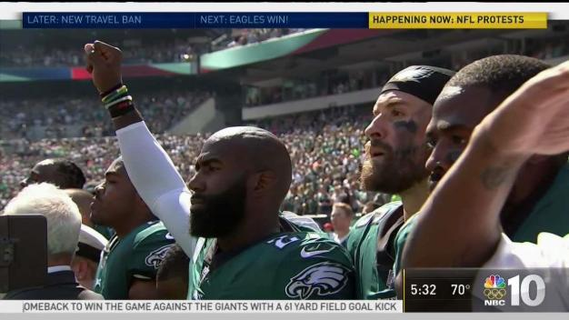 Eagles, NFL Teams Stand Together for Anthem