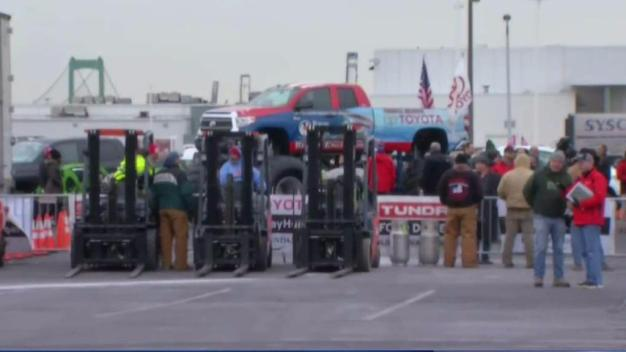Convoy of Toyota Tundras Bringing Food to Those in Need